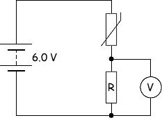 (b) the diagram below shows a thermistor connected in series with a  resistor, r, and battery of emf 6 0 v and negligible internal resistance