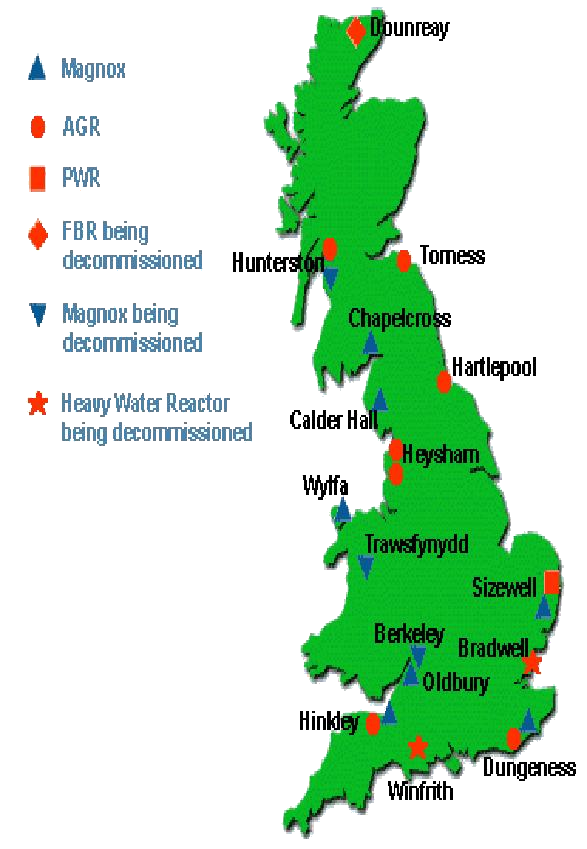 Map Of Uk Power Stations.Cyberphysics Nuclear Power